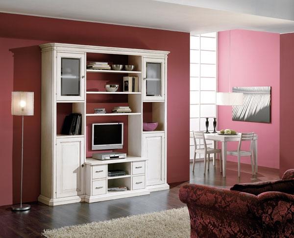 Soggiorno libreria vetrina porta tv in legno - Soggiorni a prezzi ...