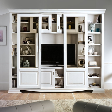 Libreria mobile porta tv in legno pattinato bianco - Porta tv in legno ...
