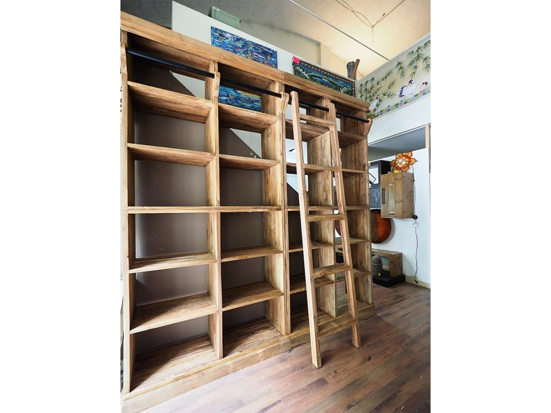 Libreria nature in legno massello india con scala in for Librerie design outlet