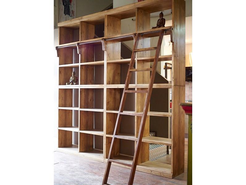 Libreria nature in legno massello india con scala in offerta Legno ...