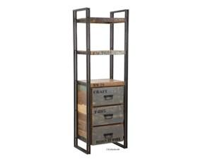 Libreria Outlet etnico in legno Libreria industrial craft a prezzo scontato