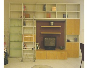 Libreria porta tv con scala in rovere naturale