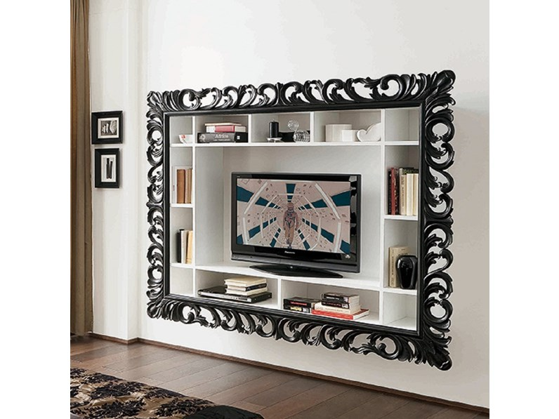 Libreria porta tv leonardo in laccato opaco for Outlet arredamento modena