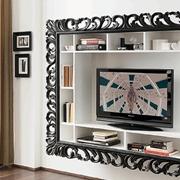 libreria porta TV con cornice in laccato opaco bicolore