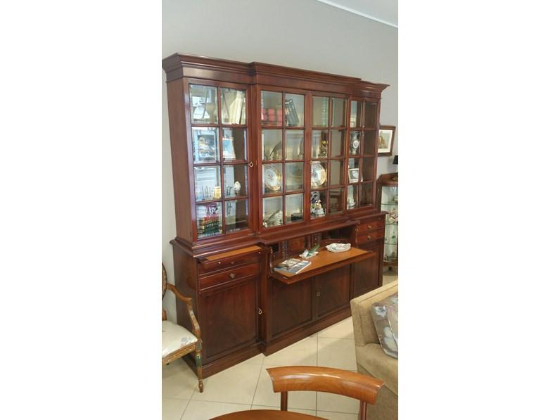 libreria Provasi legno massello con vetrine scontato del 33%