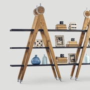 libreria doppia scaffale bifacciale dialma brown in legno riciclato vecchio modello db 004523