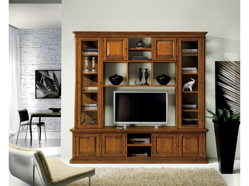 Libreria soggiorno in legno stile classico porta tv mottes for Outlet dei mobili