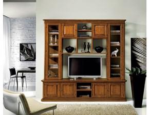 Libreria Soggiorno in legno stile classico porta tv mottes mobili Artigianale OFFERTA OUTLET