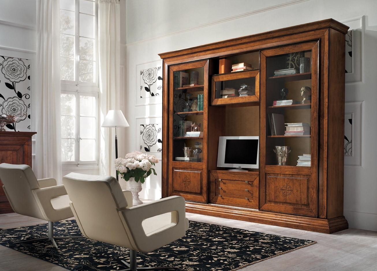 Soggiorno libreria ante scorrevoli intarsiate scontato del for Soggiorno legno