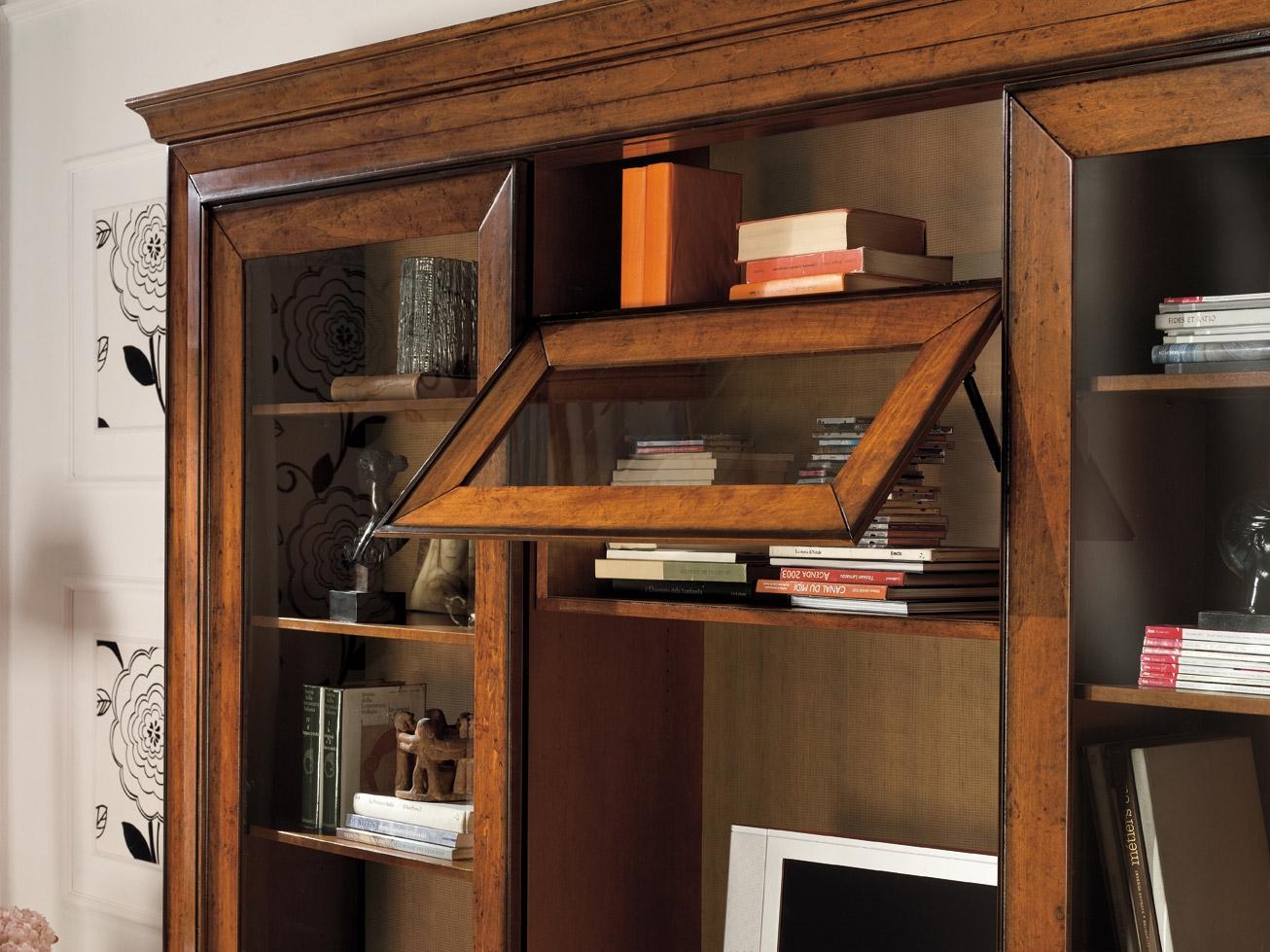 Soggiorno libreria ante scorrevoli intarsiate scontato del - Mobili soggiorno legno massello ...
