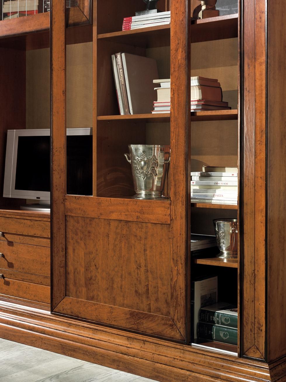 Soggiorno libreria ante scorrevoli intarsiate scontato del 49 soggiorni a prezzi scontati - Soggiorni in legno ...