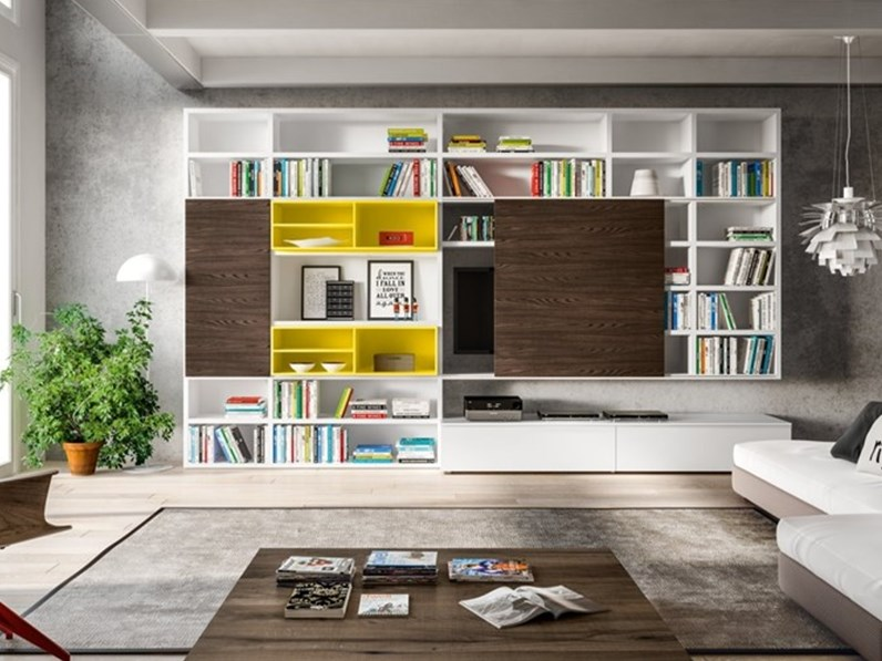 Soggiorno mobili libreria a spalla laccato opaco pareti attrezzate design - Pareti attrezzate design ...
