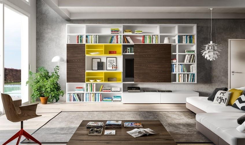 Soggiorno mobili libreria a spalla laccato opaco pareti for Mobili design scontati