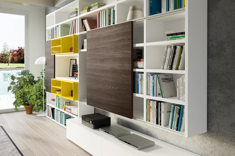 Soggiorno mobili libreria a spalla laccato opaco pareti for Napol arredamenti prezzi