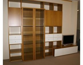 Libreria Surprise in legno noce e laccato bianco di Olivieri