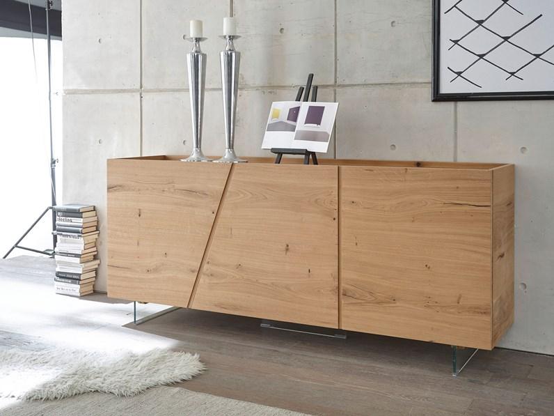 Madia moderna in legno rovere 3 ante sconto -49%