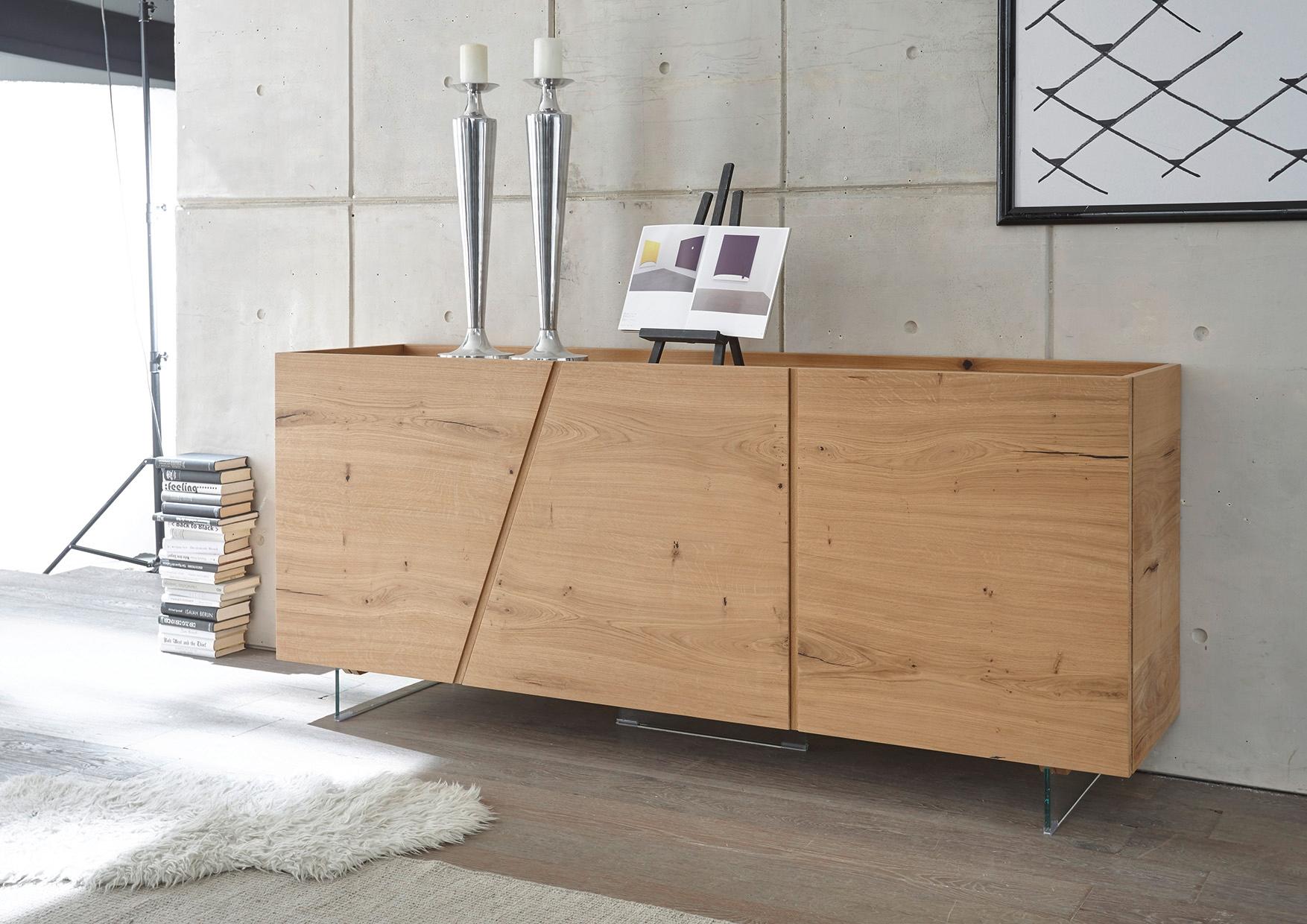 Madia moderna in legno rovere 3 ante sconto 49 for Console per salotto
