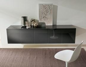 Madia Bontempi Casa modello ALY-GLass. Madia in legno con quattro ante, un cassetto e un cestone centrale.