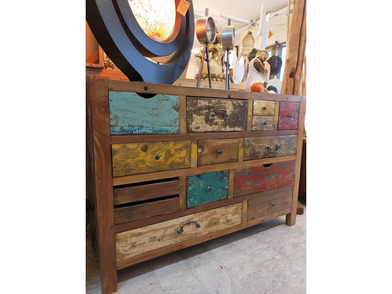 Madia Cassettiera colorata legno reciclato Artigianale in ...