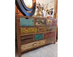 Madia Cassettiera colorata legno reciclato Artigianale in stile design a prezzo ribassato