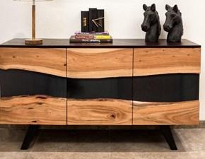Madia in legno stile design  mobile credenza wave in legno masselo in offerta  Outlet etnico
