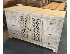 Madia in legno stile moderno Intagliata teak massello Artigianale