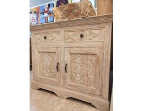 Madia Intagliata teak sbiancato Artigianale in legno a prezzo Outlet