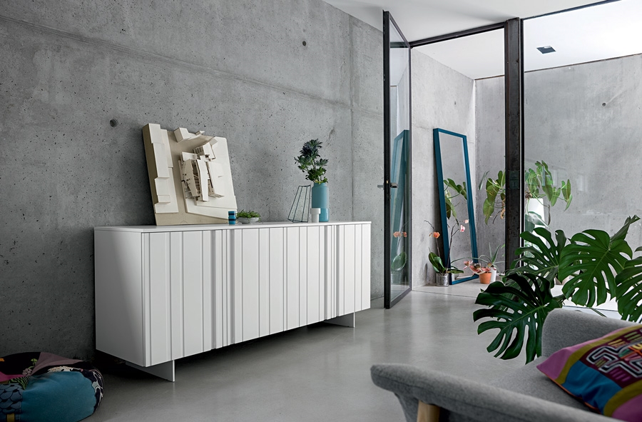 Madia mod design laccata opaco bianco soggiorni a for Madie design prezzi