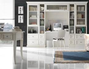 Mobile componibile in legno stile classico Mobile-libreria laccato con vano-scrittoio scontato del 35% Artigianale
