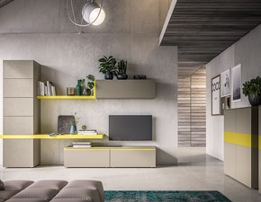 Mobile componibile Orme in laminato materico Light collection day in Offerta Outlet