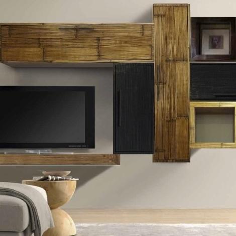 Mobile etnico parete soggiorno moderno sospeso in legno e for Mobili soggiorno legno