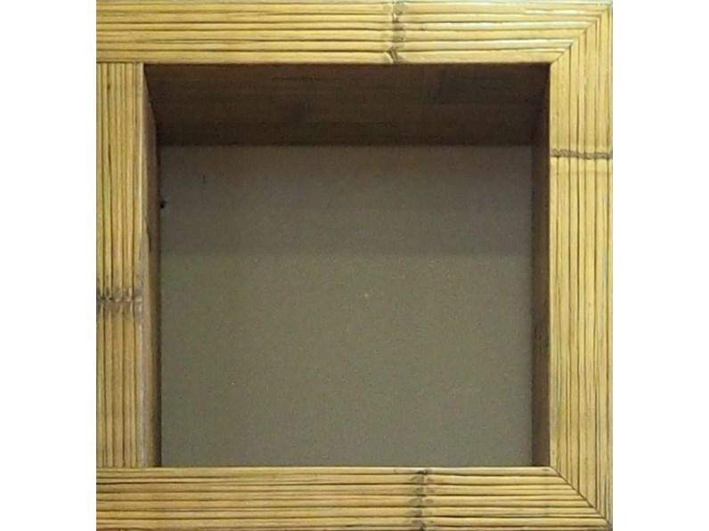 mobile etnico parete soggiorno moderno sospeso in legno e bambu design