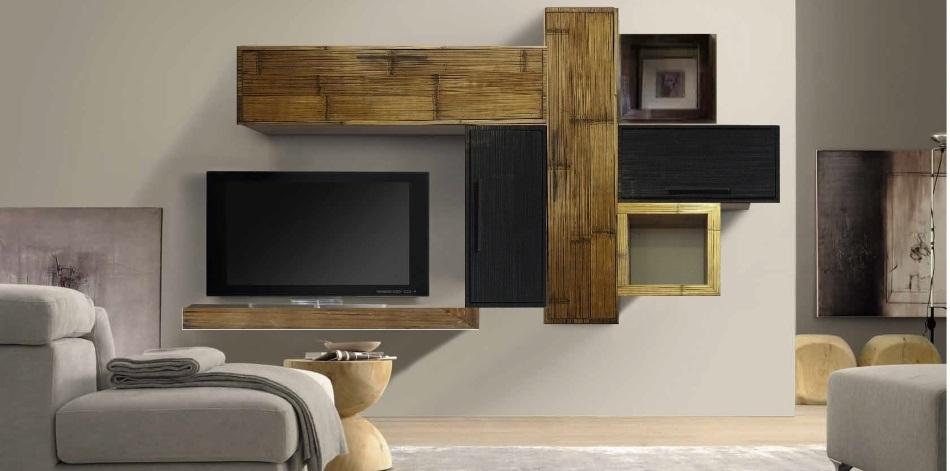 Mobile etnico parete soggiorno moderno sospeso in legno e - Mobile soggiorno moderno ...