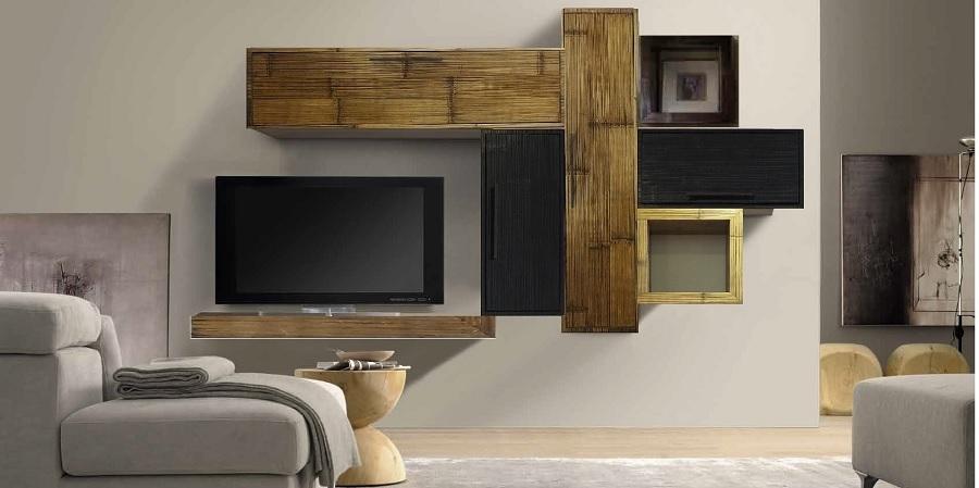 Mobile etnico parete soggiorno moderno sospeso in legno e for Bambu arredamento