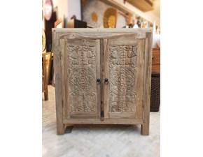Mobile ingresso Due ante intagliato teak riciclato Artigianale in stile classico a prezzo ribassato