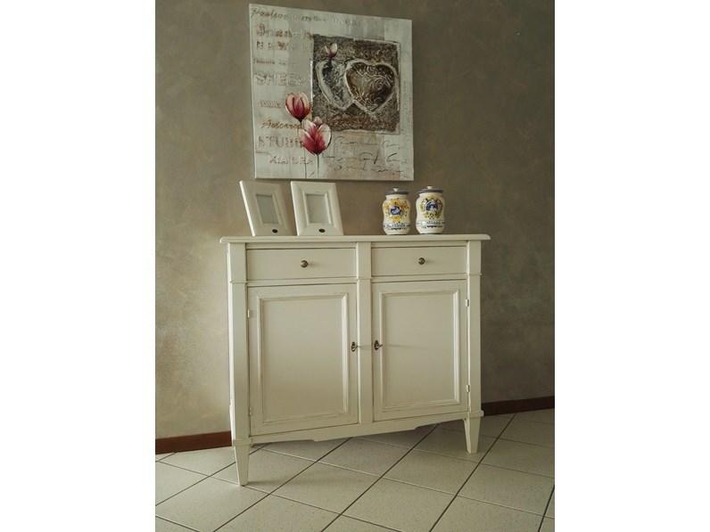 Mobile ingresso in legno stile classico shabby chic bianco Artigianale