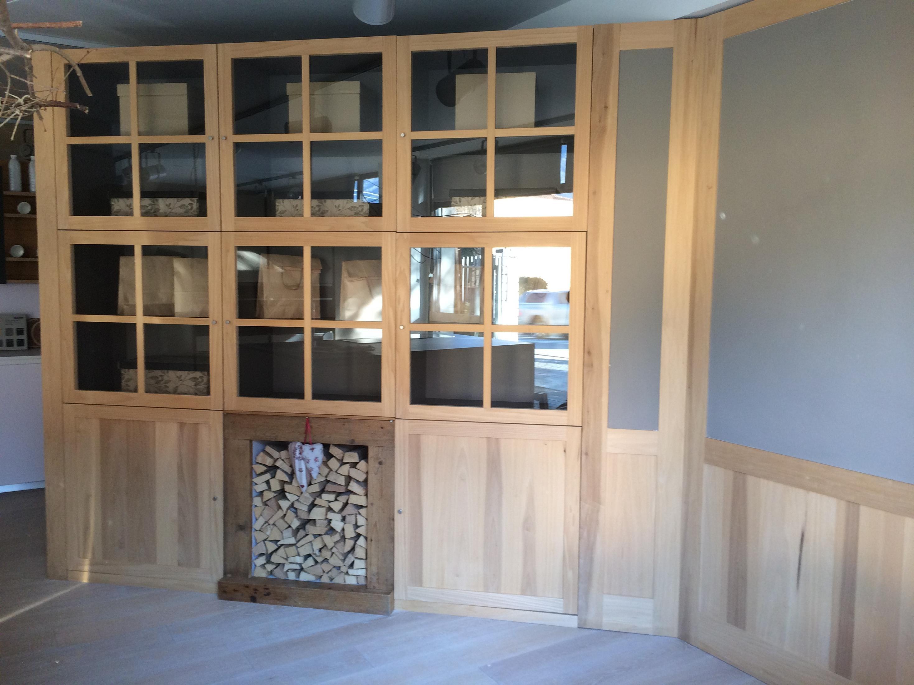Soggiorno mobile libreria contenitore in legno massello - Libreria mobile ...