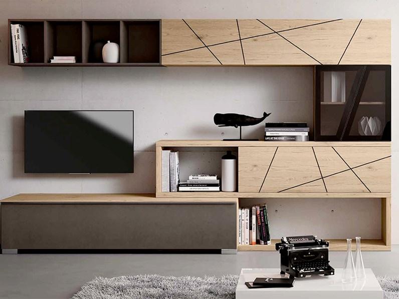 Mobile living componibile con vani a giorno nuovo a for Nuovo design di mobili