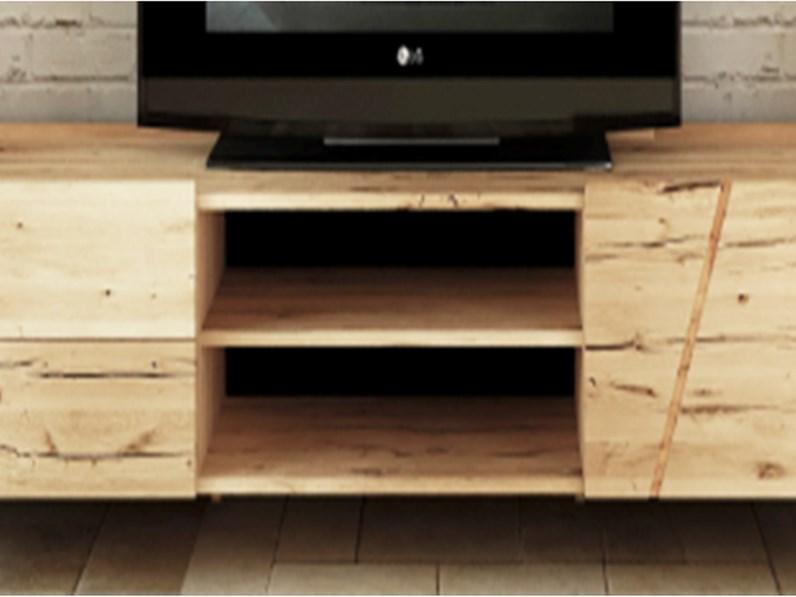 Mobile moderno porta TV legno massello rovere scontato -45%