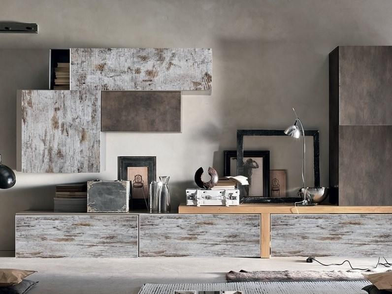 mobile parete componibile design minimal moderno nelle finiture vintage  seta bronzo in offerta