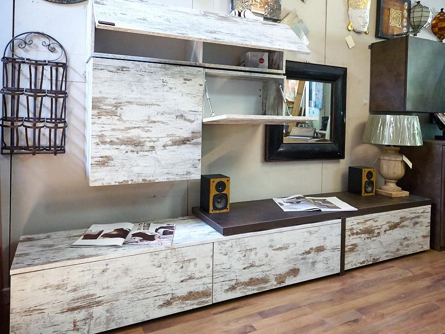 Mobile parete soggiorno vintage offerta outlet nuovimondi - Vintage look mobel ...