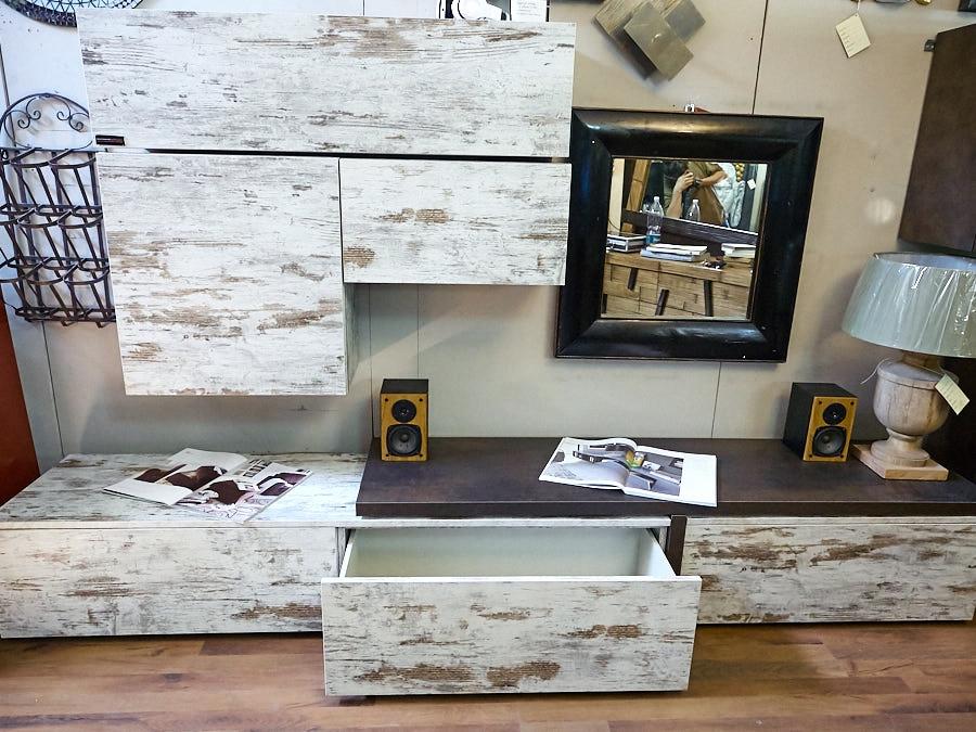 mobile parete soggiorno vintage offerta outlet nuovimondi - Soggiorni a prezzi scontati