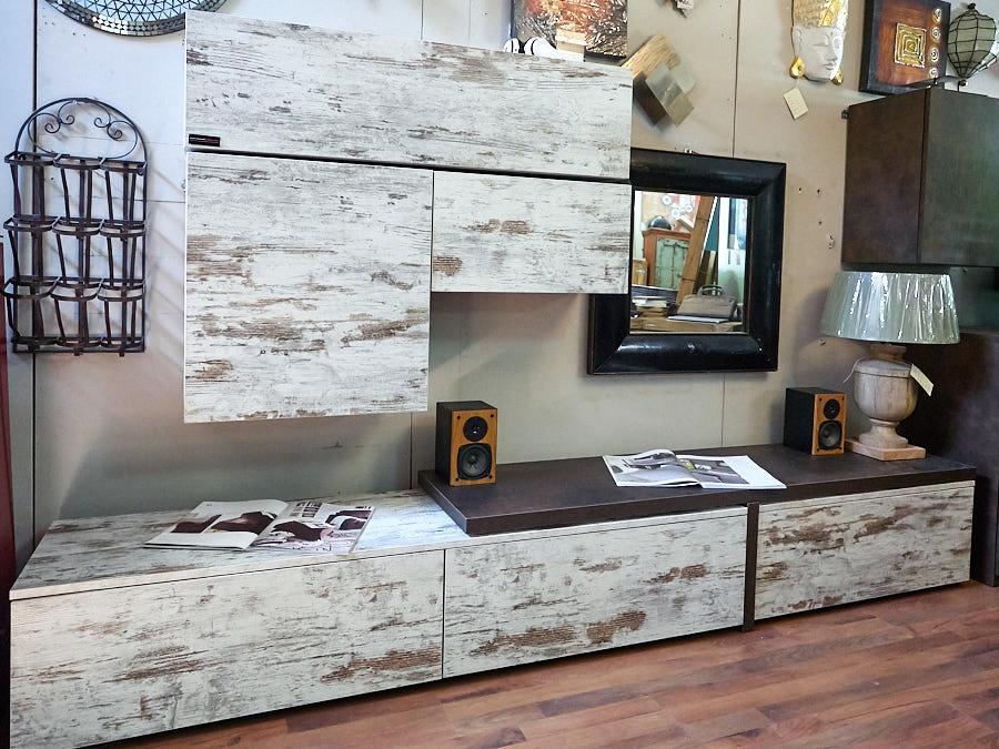 Mobile parete soggiorno vintage offerta outlet nuovimondi for Mobile basso soggiorno moderno