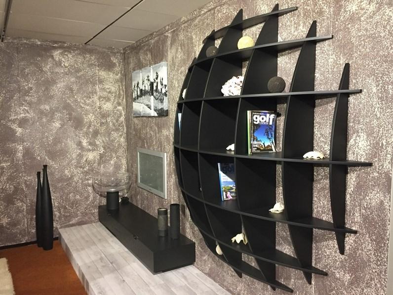 Mobile per T.V. legno di wengè con libreria tonda.Scontato del 30%