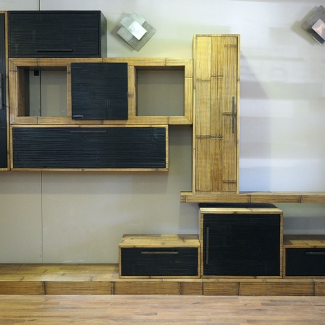 mobile soggiorno etnico moderno in legno e bambu - Soggiorni a prezzi ...