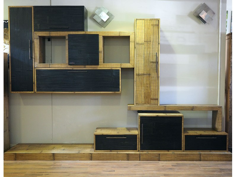 mobile soggiorno etnico moderno in legno e bambu - Soggiorni a ...