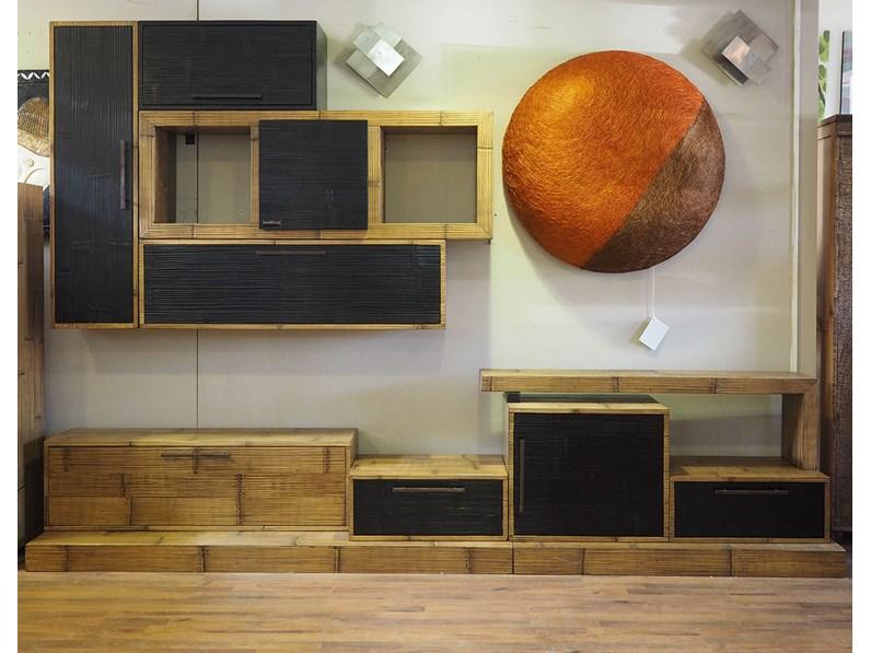 mobile soggiorno etnico moderno in legno e bambu