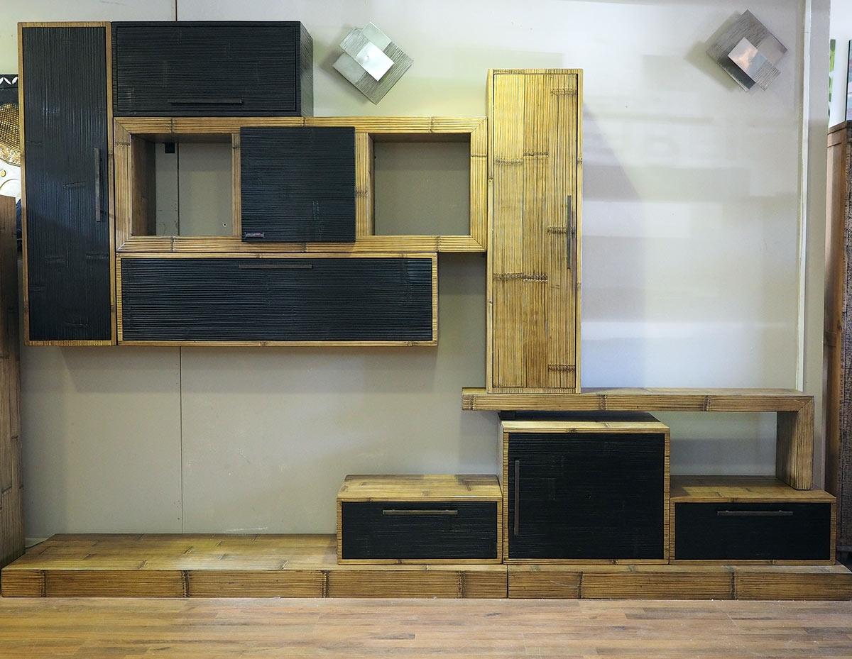 Mobile soggiorno etnico moderno in legno e bambu for Arredamento soggiorno moderno in legno