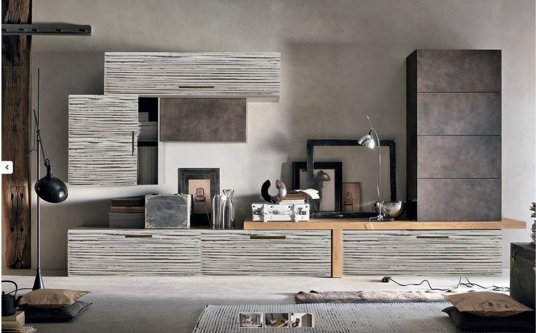 mobile soggiorno in legno colore essenza bronzo e grey bambu in ... - Parete Soggiorno Attrezzata Offerte