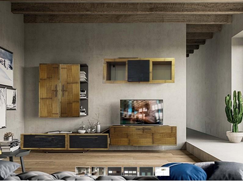 Mobile soggiorno in legno e crash bambu bortoli offerta for Outlet mobili moderni